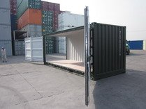 20' Open side, Green RAL 6007 shipping containers